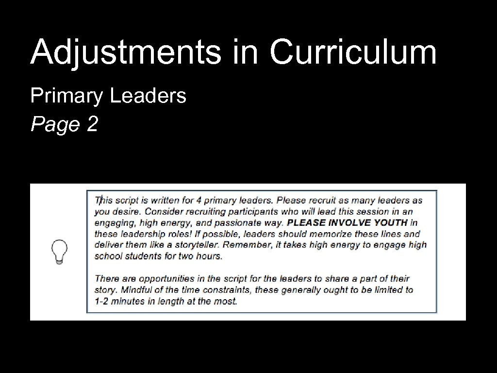 Adjustments in Curriculum Primary Leaders Page 2
