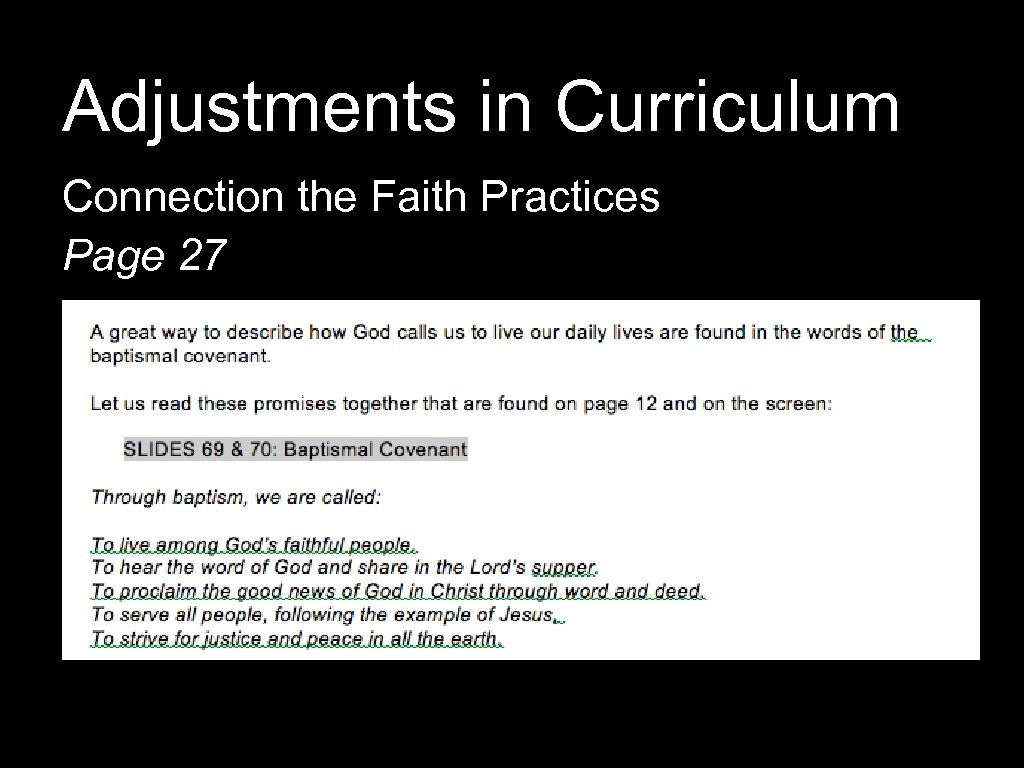 Adjustments in Curriculum Connection the Faith Practices Page 27