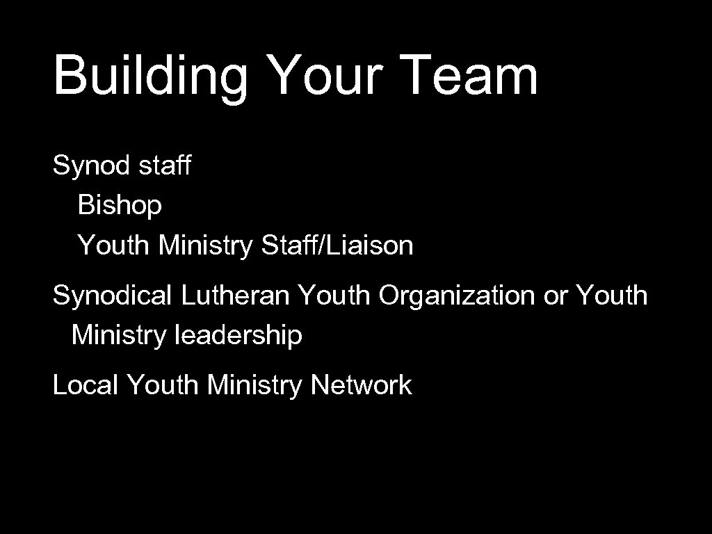 Building Your Team Synod staff Bishop Youth Ministry Staff/Liaison Synodical Lutheran Youth Organization or