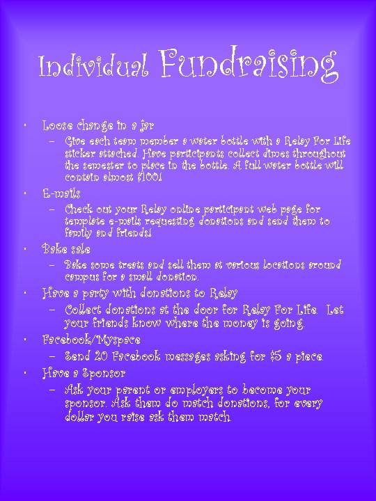 Individual Fundraising • Loose change in a jar • E-mails • Bake sale •