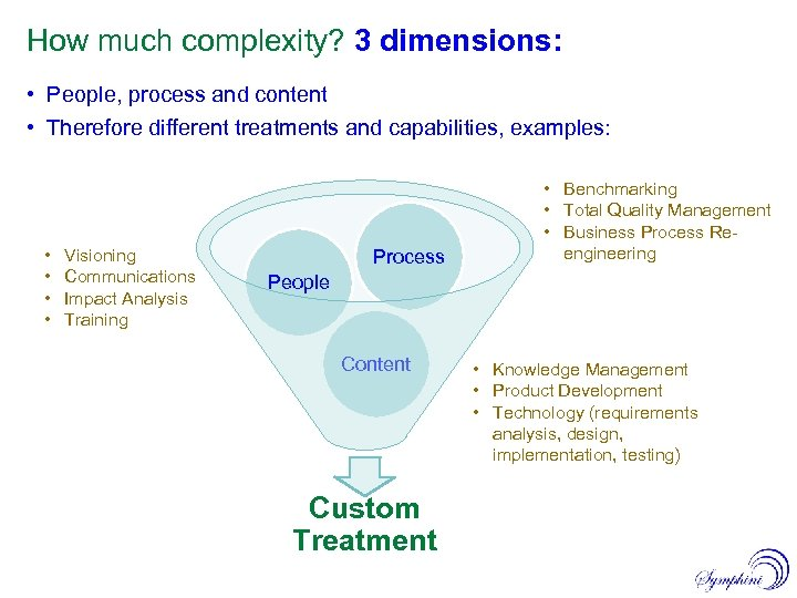 How much complexity? 3 dimensions: • People, process and content • Therefore different treatments
