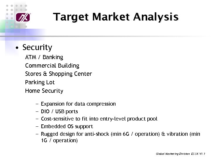 Target Market Analysis • Security ATM / Banking Commercial Building Stores & Shopping Center
