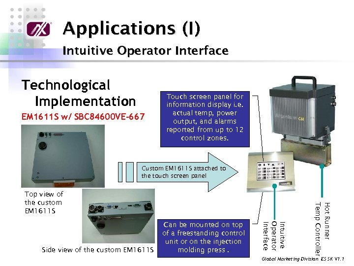 Applications (I) Intuitive Operator Interface Technological Implementation EM 1611 S w/ SBC 84600 VE-667