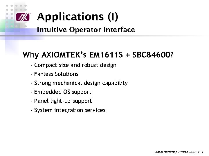 Applications (I) Intuitive Operator Interface Why AXIOMTEK's EM 1611 S + SBC 84600? -