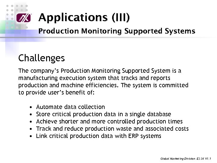 Applications (III) Production Monitoring Supported Systems Challenges The company's Production Monitoring Supported System is