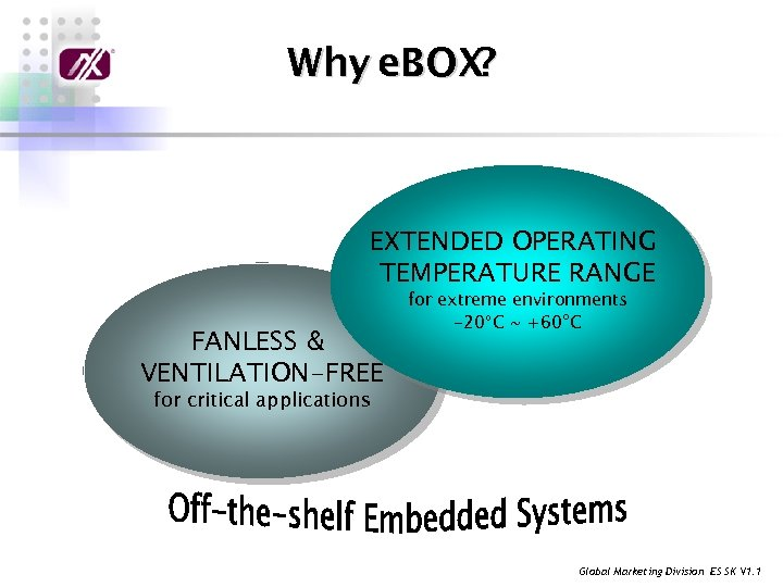 Why e. BOX? EXTENDED OPERATING TEMPERATURE RANGE FANLESS & VENTILATION-FREE for extreme environments -20°C