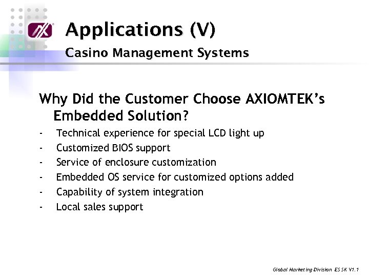 Applications (V) Casino Management Systems Why Did the Customer Choose AXIOMTEK's Embedded Solution? -