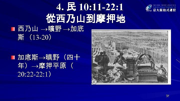 4. 民 10: 11 -22: 1 從西乃山到摩押地 西乃山 →曠野 →加底 斯 (13 -20) 加底斯→曠野(四十