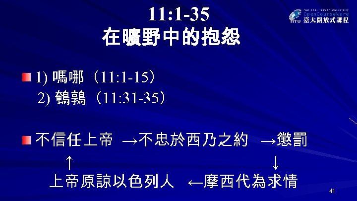11: 1 -35 在曠野中的抱怨 1) 嗎哪(11: 1 -15) 2) 鵪鶉(11: 31 -35) 不信任上帝 →不忠於西乃之約