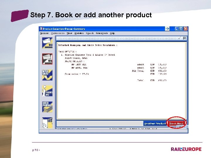 Step 7. Book or add another product p 10 •