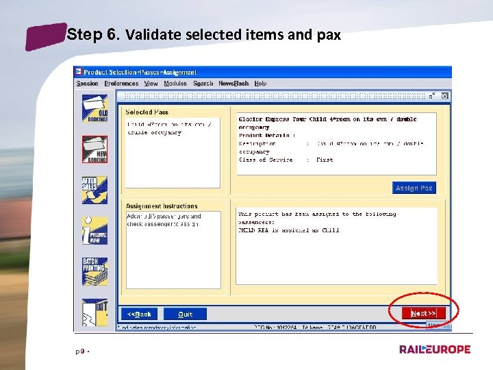 Step 6. Validate selected items and pax p 9 •
