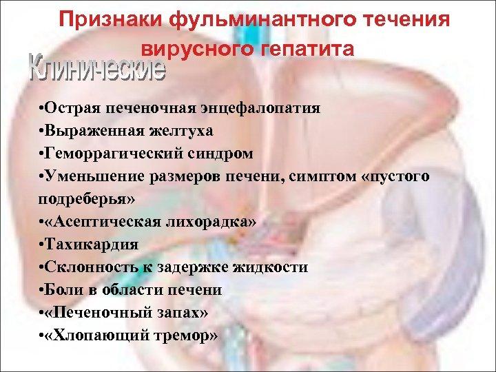 Признаки фульминантного течения вирусного гепатита • Острая печеночная энцефалопатия • Выраженная желтуха • Геморрагический