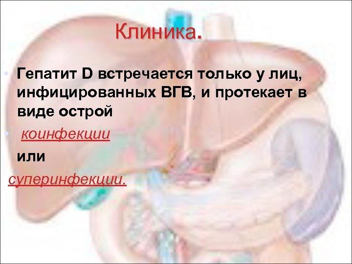 Клиника. • Гепатит D встречается только у лиц, инфицированных ВГВ, и протекает в виде
