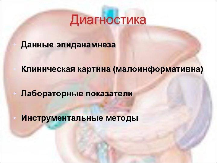 Диагностика • Данные эпиданамнеза • Клиническая картина (малоинформативна) • Лабораторные показатели • Инструментальные методы