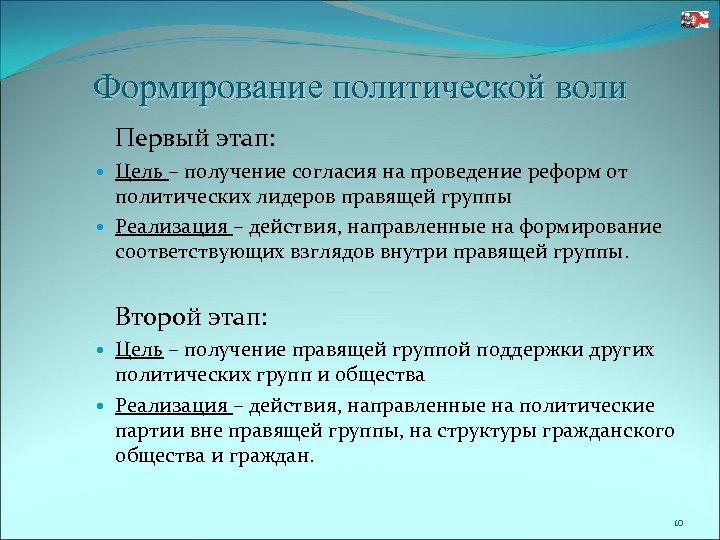 Формирование политической воли Первый этап: Цель – получение согласия на проведение реформ от политических