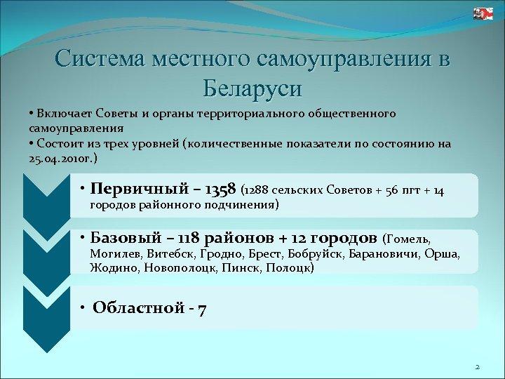 Система местного самоуправления в Беларуси • Включает Советы и органы территориального общественного самоуправления •