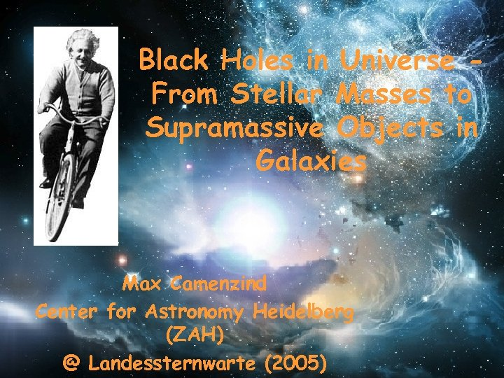 Black Holes in Universe From Stellar Masses to Supramassive Objects in Galaxies Max Camenzind