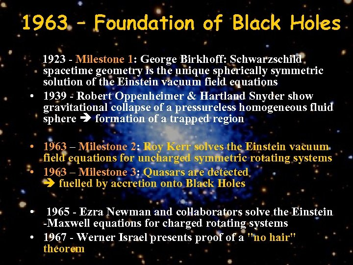 1963 – Foundation of Black Holes 1923 - Milestone 1: George Birkhoff: Schwarzschild spacetime