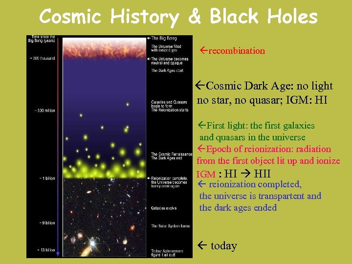 Cosmic History & Black Holes recombination Cosmic Dark Age: no light no star, no