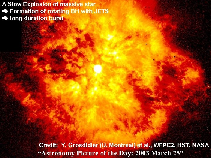 A Slow Explosion of massive star Formation of rotating BH with JETS long duration