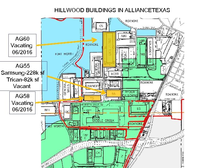 HILLWOOD BUILDINGS IN ALLIANCETEXAS AG 60 Vacating 06/2016 AG 55 Samsung-228 k sf Trican-82