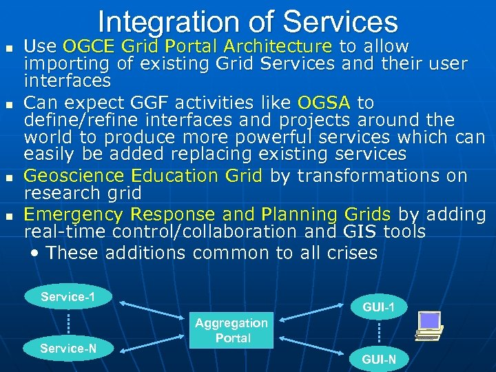 Integration of Services Use OGCE Grid Portal Architecture to allow importing of existing Grid