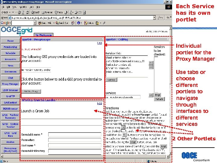 Each Service has its own portlet Individual portlet for the Proxy Manager Use tabs