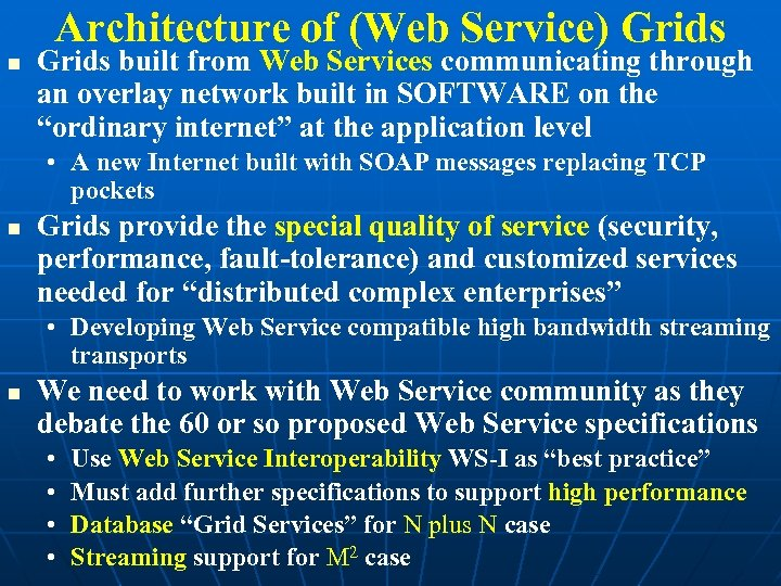 Architecture of (Web Service) Grids built from Web Services communicating through an overlay network