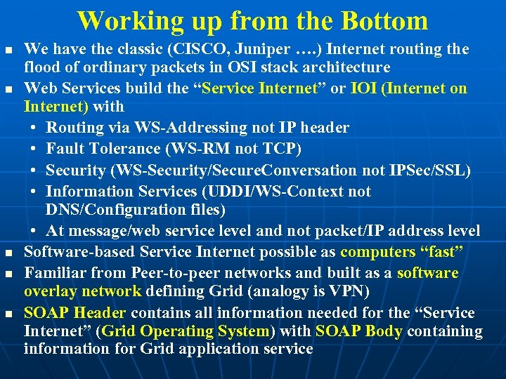 Working up from the Bottom We have the classic (CISCO, Juniper …. ) Internet