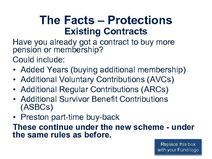 The Facts – Protections Existing Contracts Have you already got a contract to buy