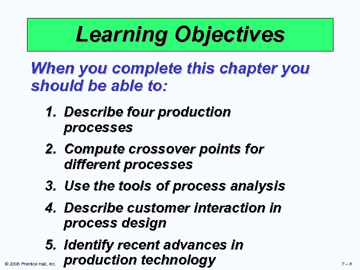 Learning Objectives When you complete this chapter you should be able to: 1. Describe
