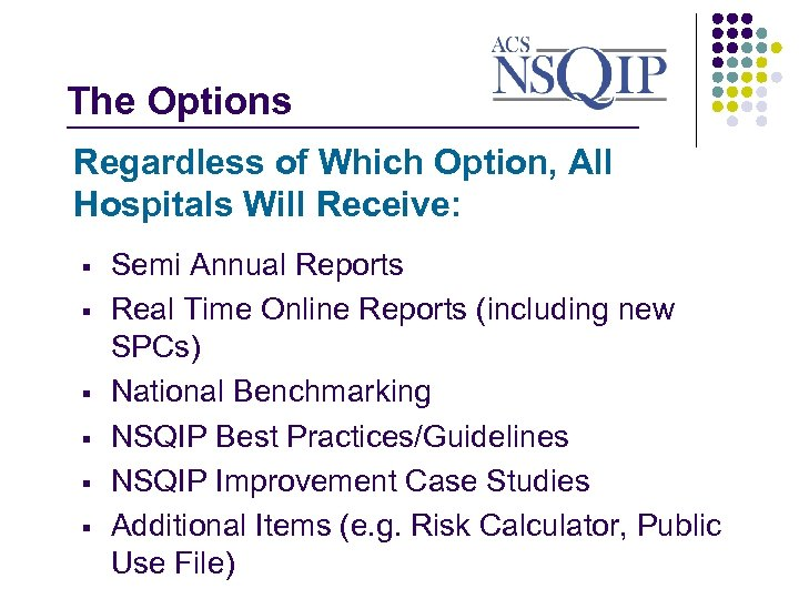 The Options _______________ Regardless of Which Option, All Hospitals Will Receive: § § §