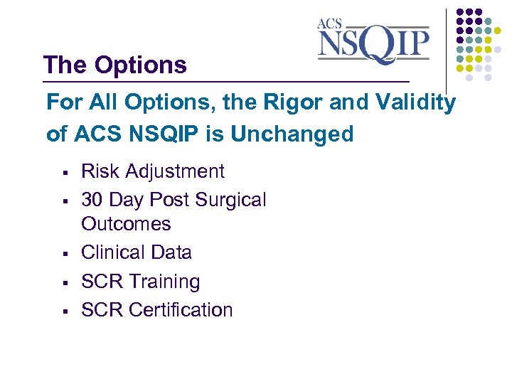The Options _______________ For All Options, the Rigor and Validity of ACS NSQIP is
