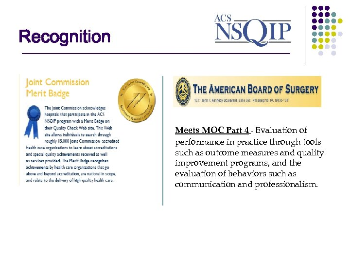 Recognition ________________ Meets MOC Part 4 - Evaluation of performance in practice through tools