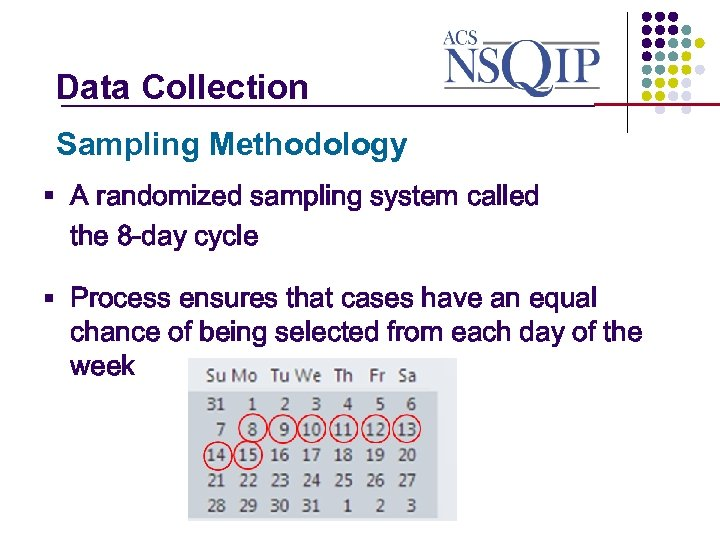 Data Collection _______________ Sampling Methodology § A randomized sampling system called the 8 -day