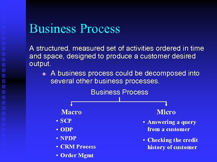 Business Process A structured, measured set of activities ordered in time and space, designed