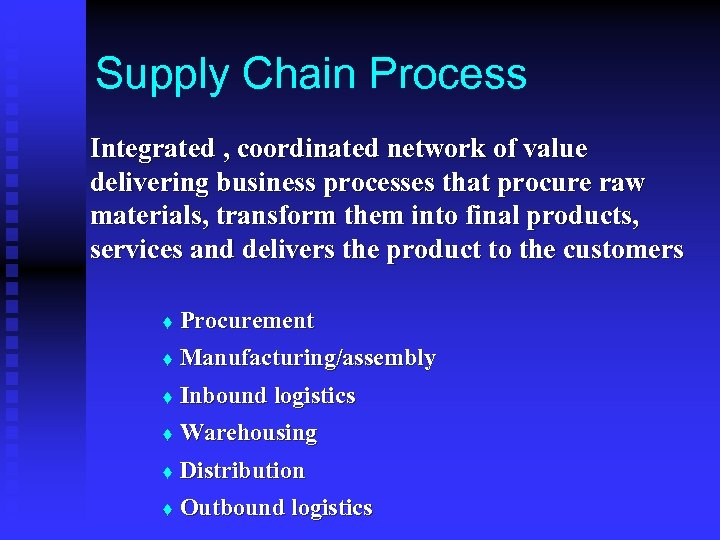 Supply Chain Process Integrated , coordinated network of value delivering business processes that procure