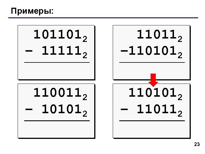 Примеры: 1011012 – 111112 110112 – 1101012 1100112 – 101012 1101012 – 110112 23