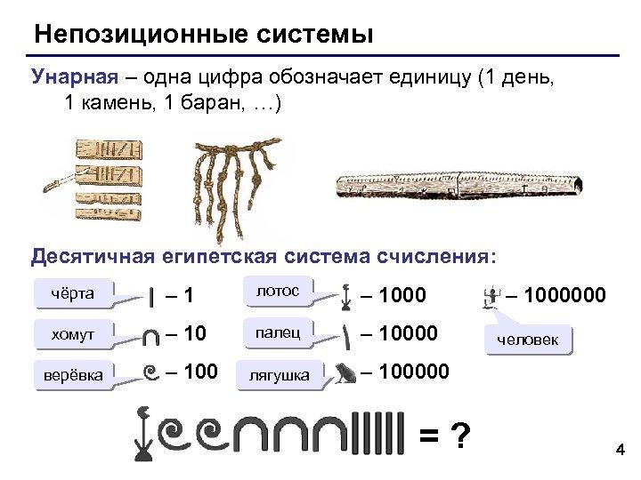 Непозиционные системы Унарная – одна цифра обозначает единицу (1 день, 1 камень, 1 баран,
