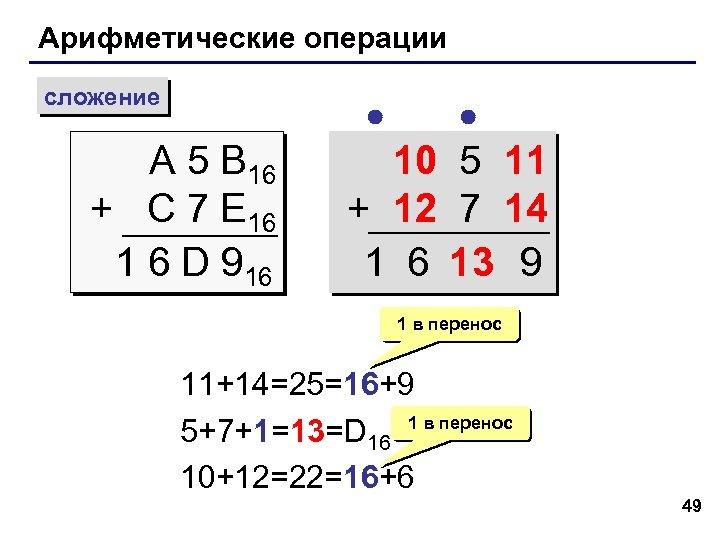 Арифметические операции сложение A 5 B 16 + C 7 E 16 1 6