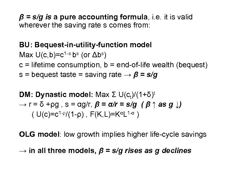 β = s/g is a pure accounting formula, i. e. it is valid wherever
