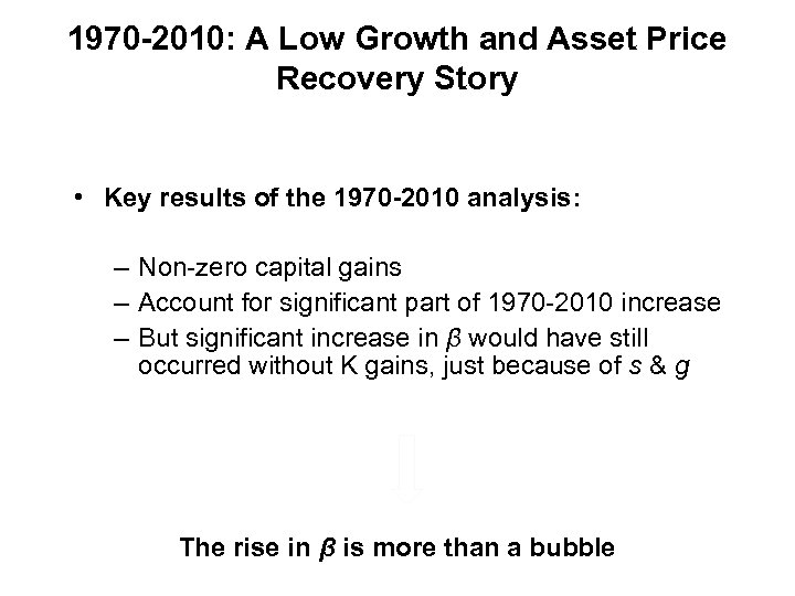 1970 -2010: A Low Growth and Asset Price Recovery Story • Key results of