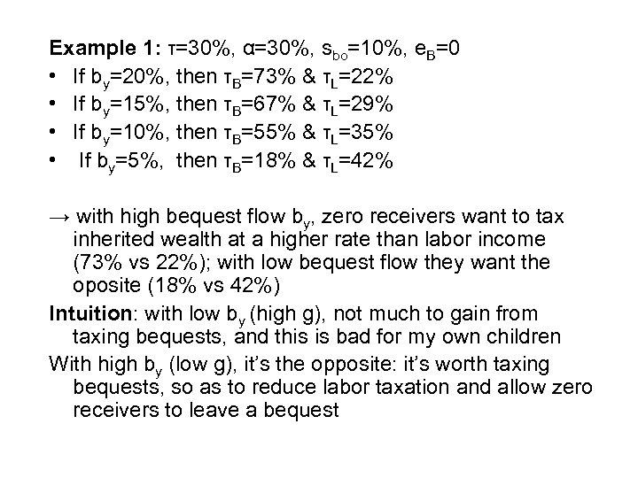 Example 1: τ=30%, α=30%, sbo=10%, e. B=0 • If by=20%, then τB=73% & τL=22%