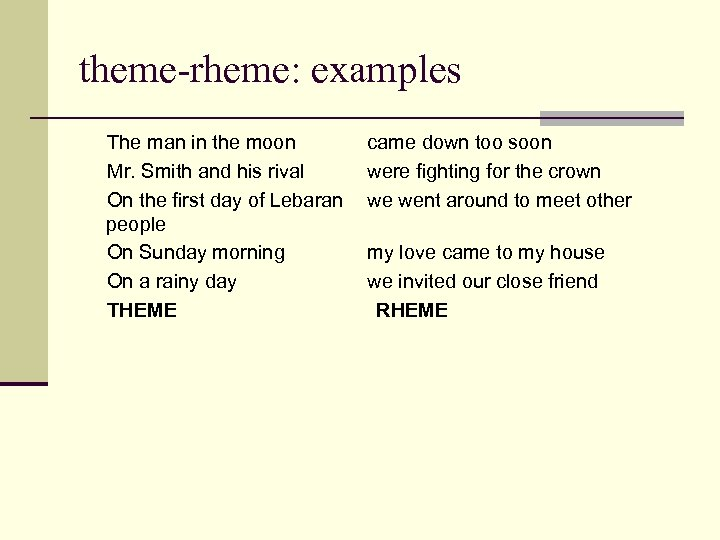 theme-rheme: examples The man in the moon Mr. Smith and his rival On the