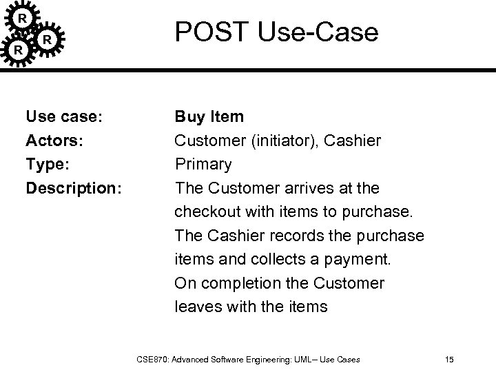 R R R Use case: Actors: Type: Description: POST Use-Case Buy Item Customer (initiator),