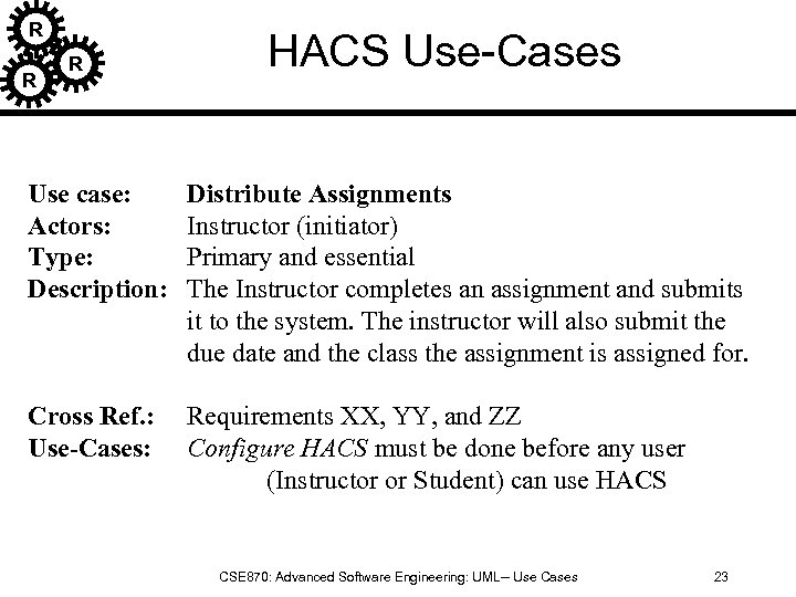 R R R HACS Use-Cases Use case: Actors: Type: Description: Distribute Assignments Instructor (initiator)