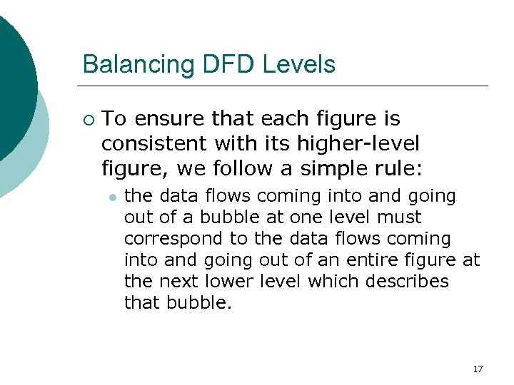 Balancing DFD Levels ¡ To ensure that each figure is consistent with its higher-level
