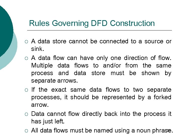 Rules Governing DFD Construction ¡ ¡ ¡ A data store cannot be connected to