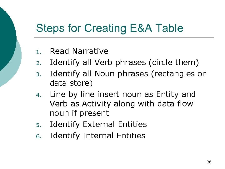 Steps for Creating E&A Table 1. 2. 3. 4. 5. 6. Read Narrative Identify