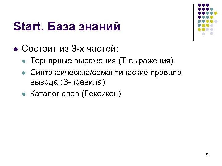 Start. База знаний l Состоит из 3 -х частей: l l l Тернарные выражения